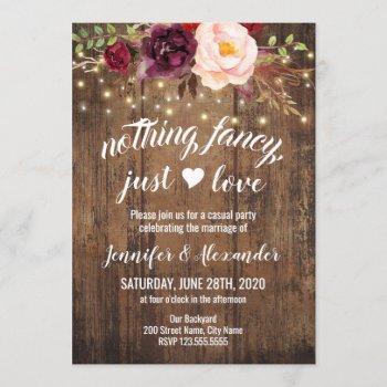 marsala floral wedding reception invitation