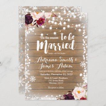 marsala winter snowflakes holiday wedding invitation