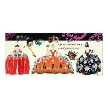masks and rococo lady mardi gras masquerade party invitation