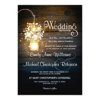 mason jar glowing lights floral rustic wedding invitation