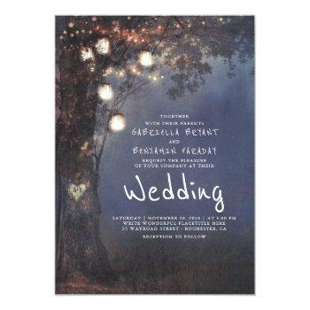 mason jar lights tree carved heart rustic wedding invitation