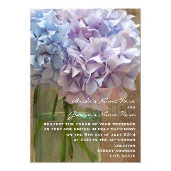 mason jar of blue & purple hydrangeas wedding invitation