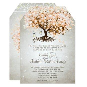mason jar peachy pink heart leaf tree wedding invitation