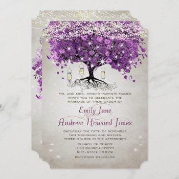 mason jar radiant purple wedding invitation
