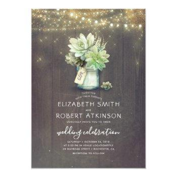 mason jar succulent bouquet rustic country wedding invitation