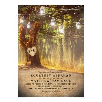 mason jars rustic tree lake twinkle lights wedding invitation