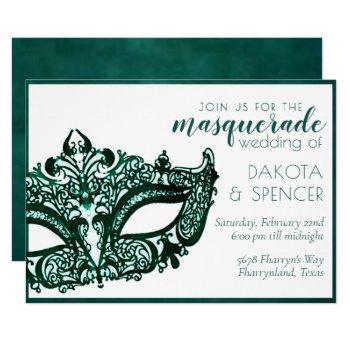masquerade green | dark emerald mardi gras wedding invitation