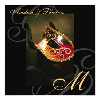 masquerade mask gold swirl wedding invitation