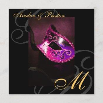 masquerade mask pink swirl wedding invitation