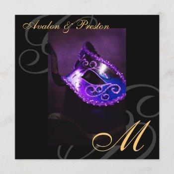 masquerade mask purple swirl wedding invitation