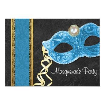 masquerade party invitation - teal & gold