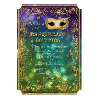 Small Masquerade Wedding Antique Vintage Mask Bokeh Gold Invitation Front View