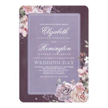 mauve and purple vintage floral fall wedding invitation