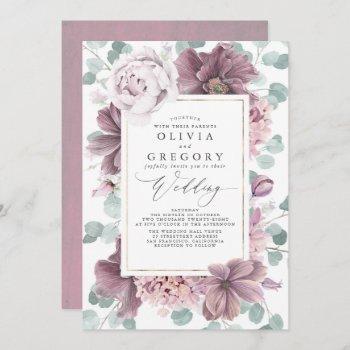 mauve flowers and greenery elegant stylish wedding invitation