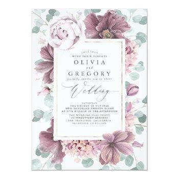 Small Mauve Flowers And Greenery Elegant Stylish Wedding Invitation Front View