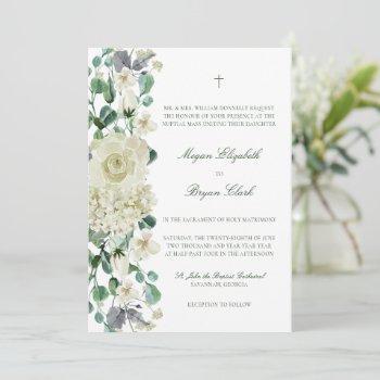 megan elegant greenery white catholic wedding invitation