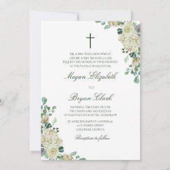 megan floral watercolor catholic wedding invitation