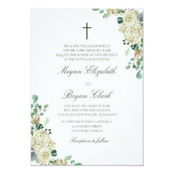 megan floral watercolor catholic wedding invitation