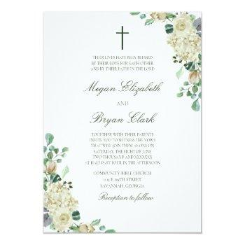 megan white roses greenery christian wedding invitation