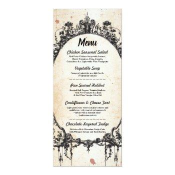menu wedding reception gothic frame halloween invitation