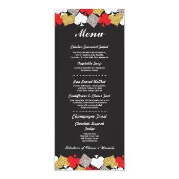 menu wedding reception las vegas casino card