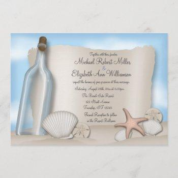 message from a bottle - beach wedding invitations