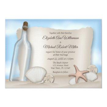 message from a bottle beach wedding invitations