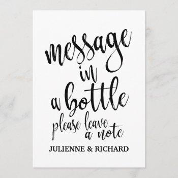 message in a bottle affordable wedding sign invitation