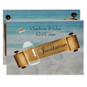 message in a bottle beach wedding invitation