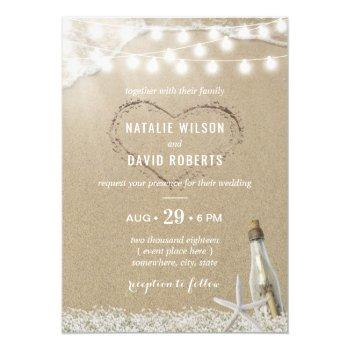 message in a bottle rustic floral beach wedding invitation