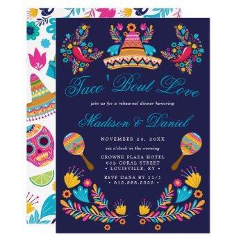 mexican fiesta floral sombrero rehearsal dinner invitation
