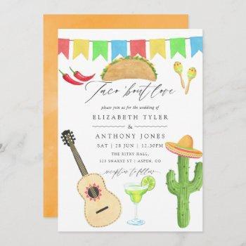 mexican fiesta taco themed wedding invitation