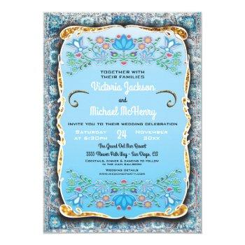 mexican fiesta wedding floral gold glitter invitation