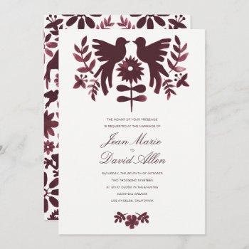 mexican otomi wedding invitation - burgundy