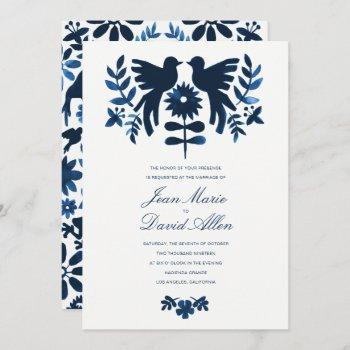 mexican otomi wedding invitation - navy