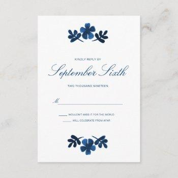 mexican otomi wedding rsvp card - navy blue