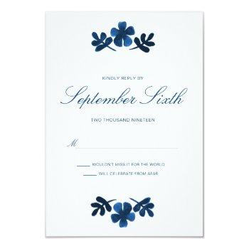 mexican otomi wedding rsvp card - navy blue