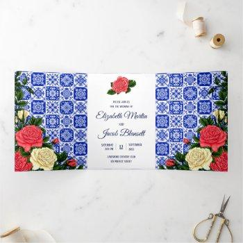 mexican tile coral and cream roses wedding tri-fold invitation