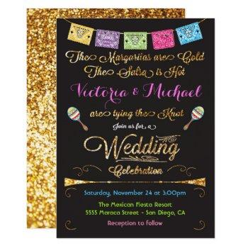 mexican wedding fiesta gold glitter invitations