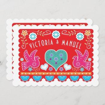 mexican wedding papel picado gold glitter invitation