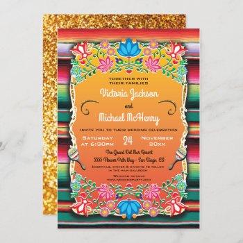 mexican wedding rug and faux gold invitation