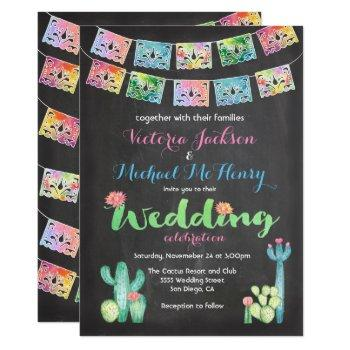 mexican wedding watercolor cactus invitations