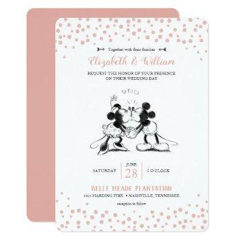 mickey & minnie   pink confetti wedding invitation