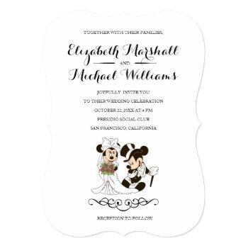 mickey & minnie wedding   married invitation