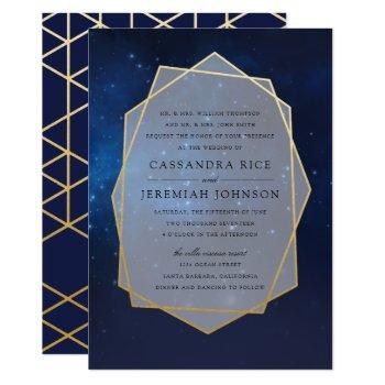 midnight blue constellation wedding invitations