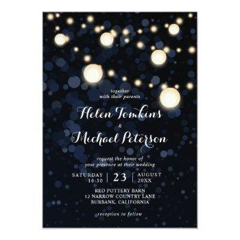 midnight blue paper lantern wedding invitations