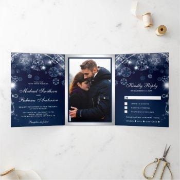 midnight blue winter wonderland snowflakes wedding tri-fold invitation