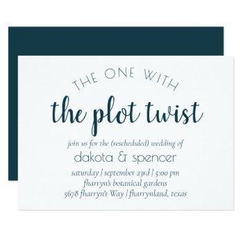 midnight teal script | one with wedding plot twist invitation