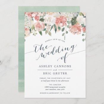 midsummer   watercolor floral wedding invitation