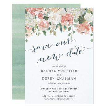 midsummer | watercolor floral wedding postponement invitation